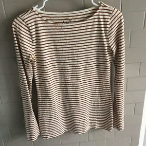 J Crew Metallic Long Sleeve Top